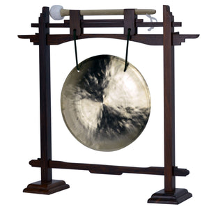 "The Gong Shop Small Chinese Gongs with Stand Combos 4"" to 13"" 07"" Wind Gong with Rosewood Pedestal Gong Stand and Mallet Combo"