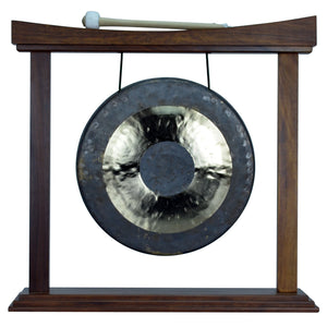 "The Gong Shop Small Chinese Gongs with Stand Combos 4"" to 13"" 12"" Chau Gong on Curved Rosewood Gong Stand with Mallet"