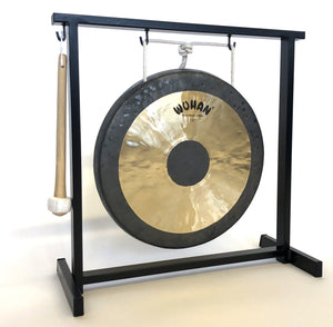 "The Gong Shop Chinese Gongs with Stands 12"" Wuhan Chinese Gong Set with Stand and Mallet"