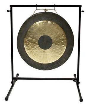 "The Gong Shop Large Chinese Gongs with Stand Combos 24"" to 34"" 26"" Chau Gong on Chronos Metal Gong Stand with Mallet"