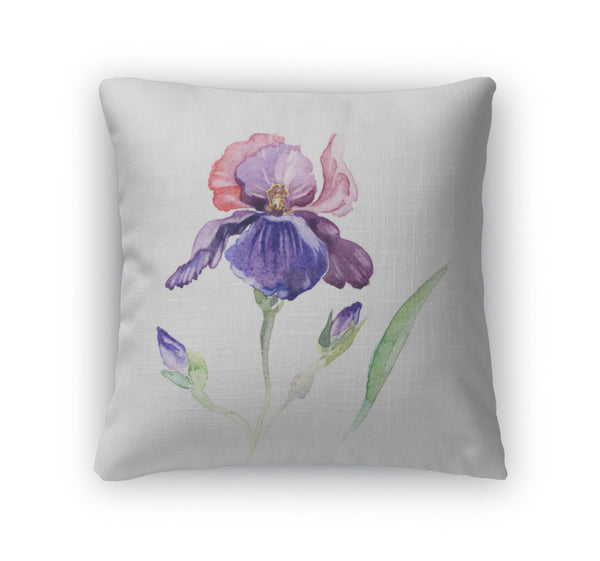 Throw Pillow, The Iris Flowers Watercolor Isolated