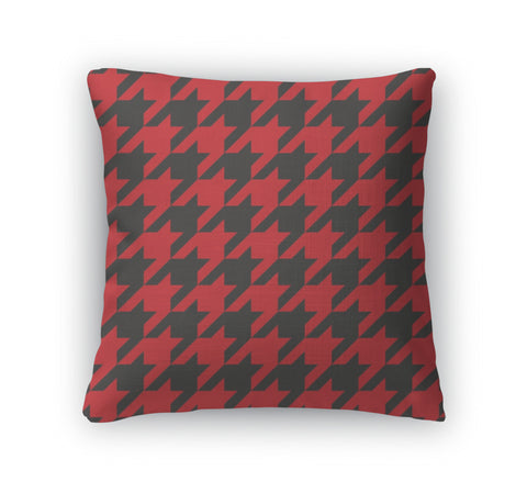Throw Pillow, Houndstooth Red And Black Pattern Or Traditional Scottish Plaid Fabric For