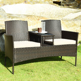 Cushioned Rattan Loveseat Sofa Set
