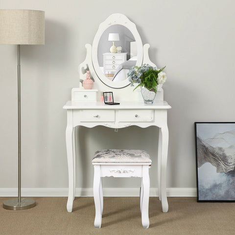 4 Drawer Makeup Desk w/ Stool Bedroom & Mirror