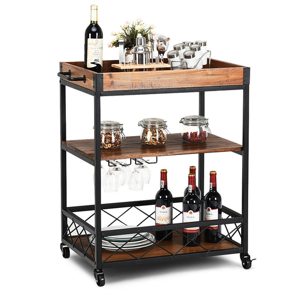 3 Tier Rolling Kitchen Island Serving Cart - Distinguished Decorum