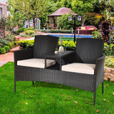 Cushioned Rattan Loveseat Sofa Set - Distinguished Decorum
