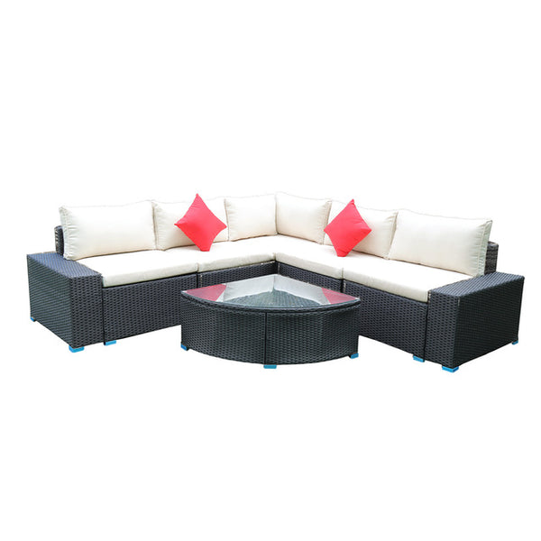 7 pc Patio Conversation Sectional Set w/ Coffee Table