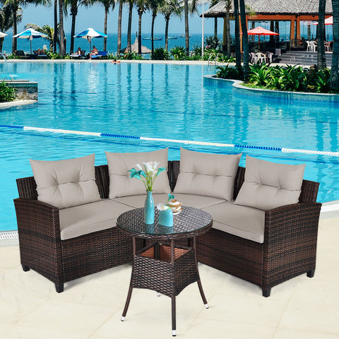 4 pc Cushioned Sofa Set w/ Table - Distinguished Decorum