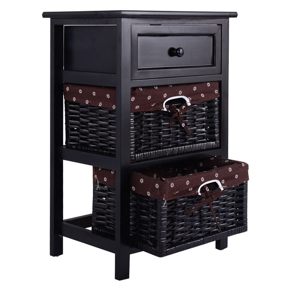3 Tier Bedside End Table w/ 2 Baskets - Distinguished Decorum
