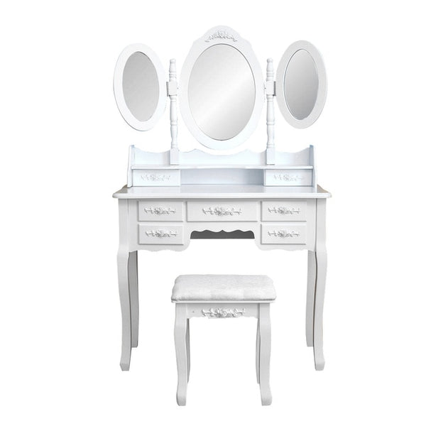 3 Piece Foldable Bedroom Makeup Dresser w/ Mirrors & Stool
