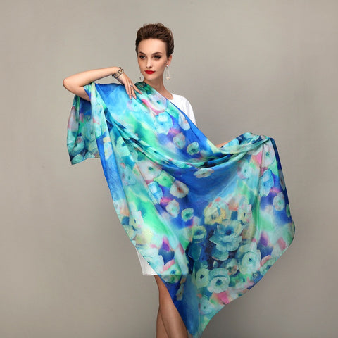 Blue Long Silk Scarves, Mulberry Silk