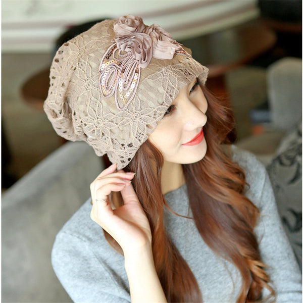Beanie Flowers Lace Female Scarf Hat