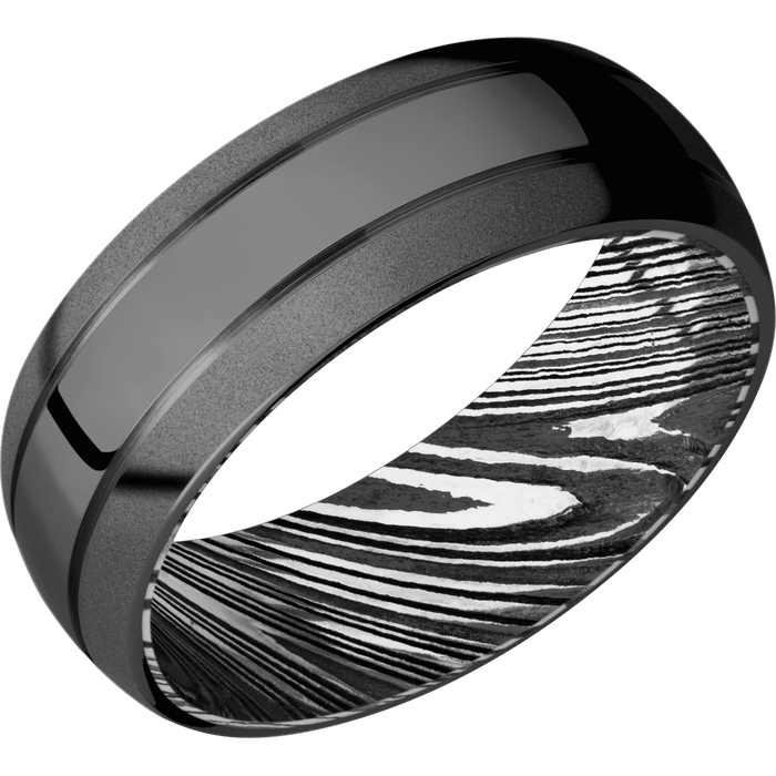 *In Stock!* Zirconium & Damascus Band