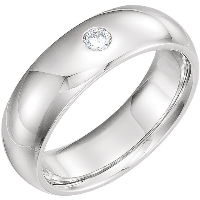 Men's 6mm Half Round Diamond Band