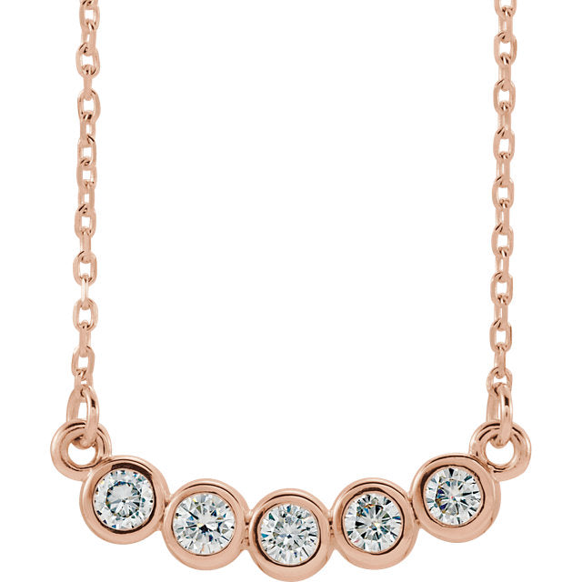 *In Stock!* Bezel Set 5 Moissanite Necklace