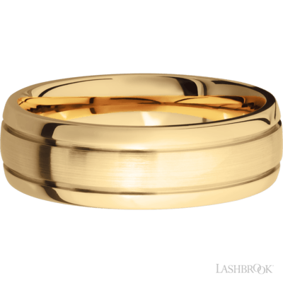 "14K yellow gold 7mm wide wedding band, domed profile with 2 accent grooves, center satin finish, sides polished finish, finger size comfort fit 11.5. Inscribe ""RD & KP 10/11/19"" in Lucida calligraphy"