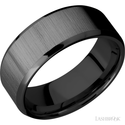 Black zirconium 8mm wide wedding band, beveled edges, cross satin middle finish, size comfort fit 11