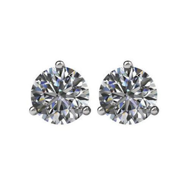 Choose Your Size 3 Prong Moissanite Stud Earrings