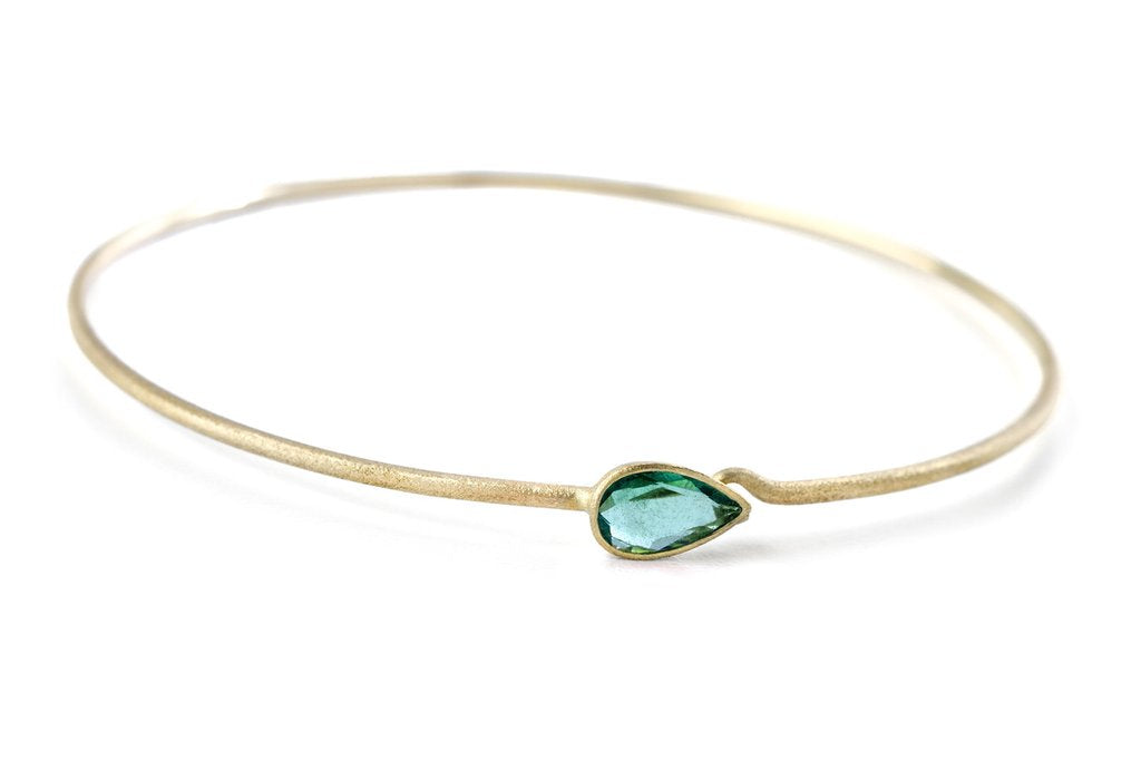 *In Stock!* Natural Emerald Yellow Gold Bangle