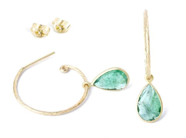 *In Stock!* Natural Emerald Gold Hoop Earrings