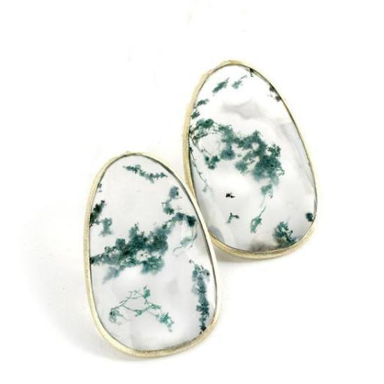 *In Stock!* Moss Chalcedony Gold Earrings