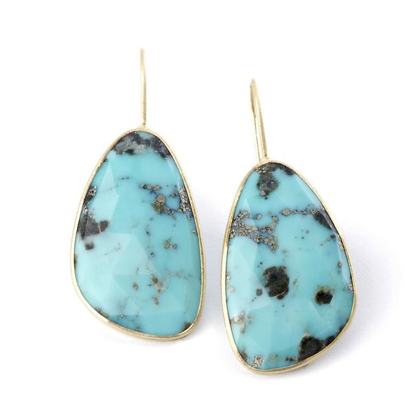 *In Stock!* Yellow Gold Turquoise Drop Earrings