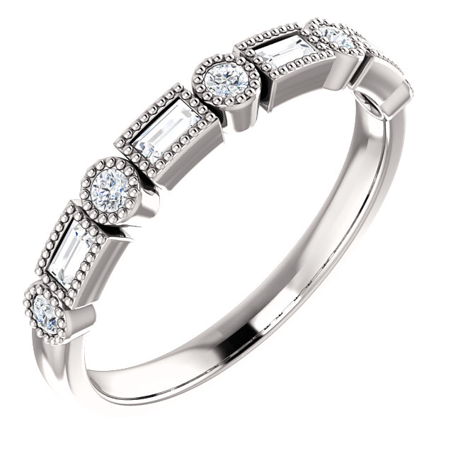 14K white gold natural diamond band, with round and baguette diamonds, total weight approx. 1/4ct, finger size 7