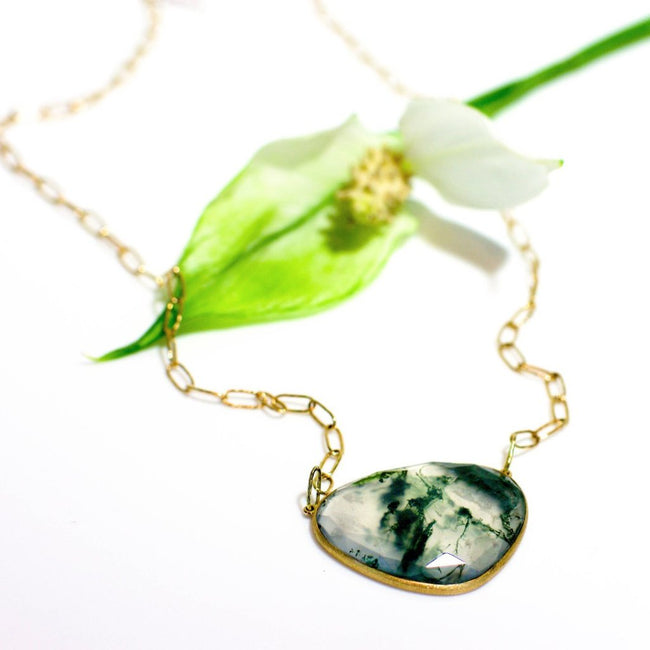 *In Stock!* Moss Chalcedony Gold Necklace