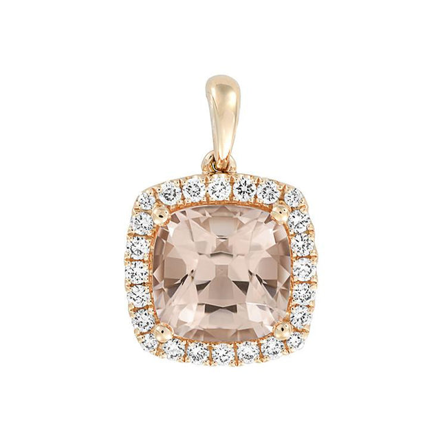 *In Stock!* Rose Gold Morganite & Diamond Necklace