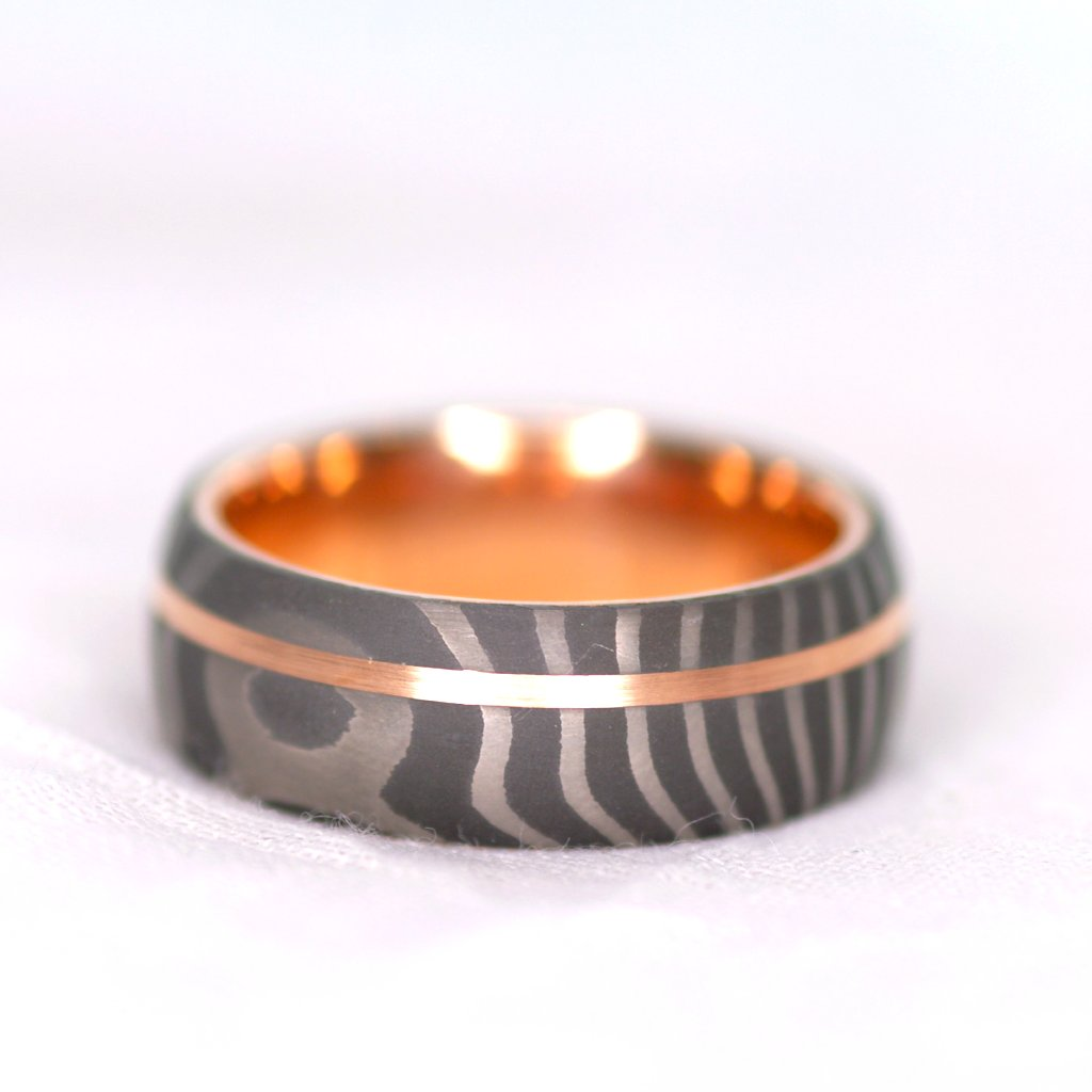 *In Stock!* Damascus & Rose Gold Band