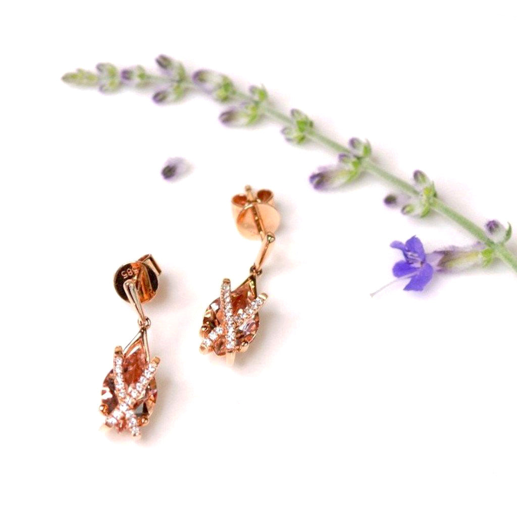 *In Stock!* Rose Gold Morganite & Diamond Earrings