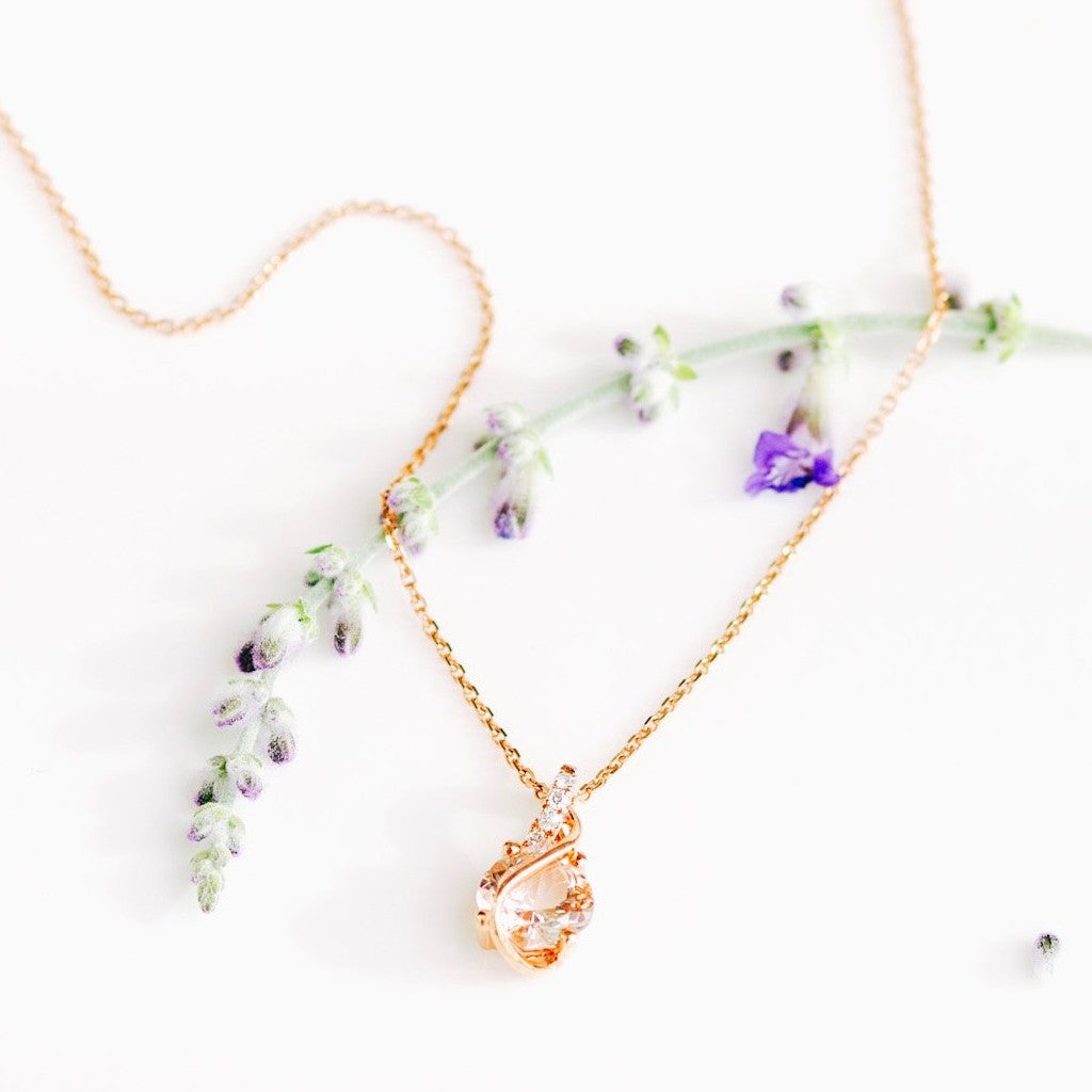 *In Stock!* Dainty Rose Gold Morganite & Diamond Necklace