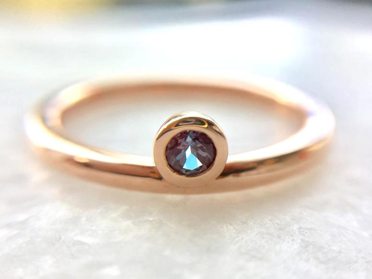 *In Stock!* Rose Gold Alexandrite Bezel Ring