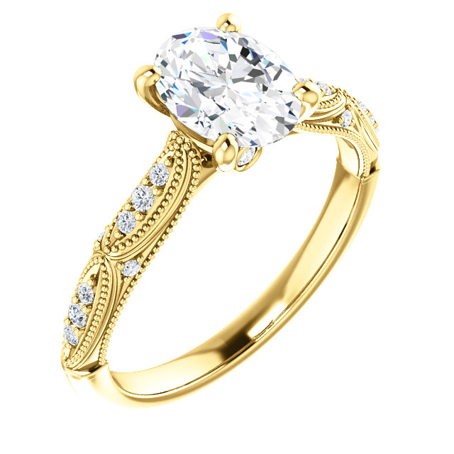 "14K yellow gold ""Genevieve"" engagement ring, set in the center with a 9x7mm Neo moissanite (VS quality, lifetime warranty), and on the sides with lab grown diamonds (colorless); finger size 6"