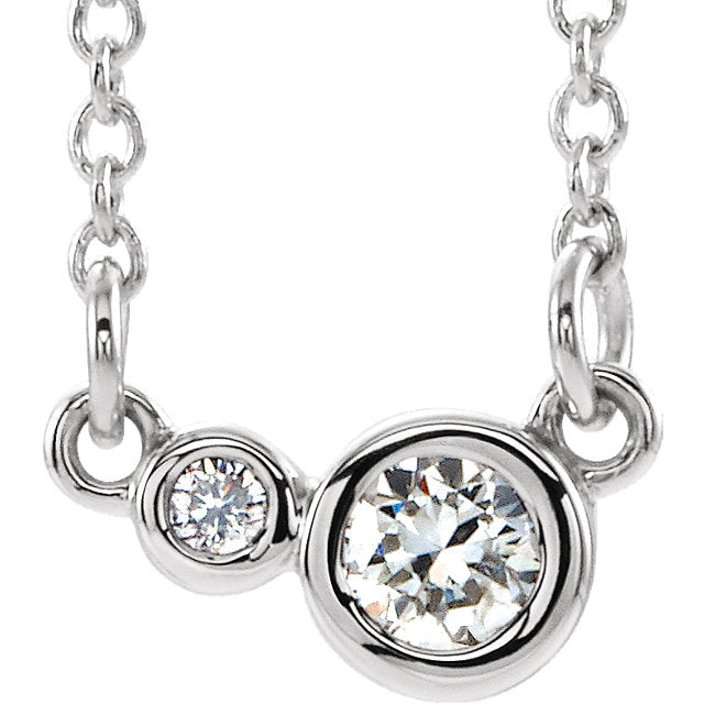 Moissanite Double Bezel Necklace