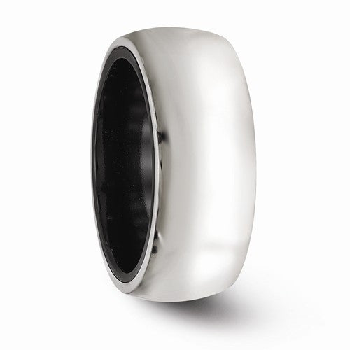 Men's 10mm Domed Argentium Silver & Black Titanium Band