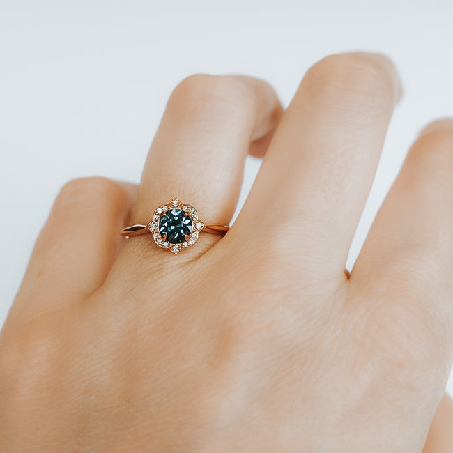 *In Stock!* Esther Montana Sapphire Engagement Ring (Rose gold)