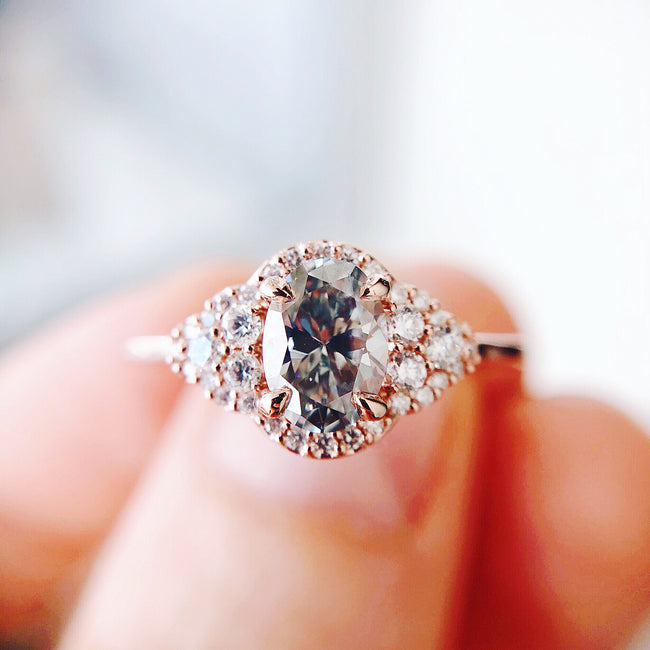 *In Stock* Adora Grey Moissanite Engagement Ring