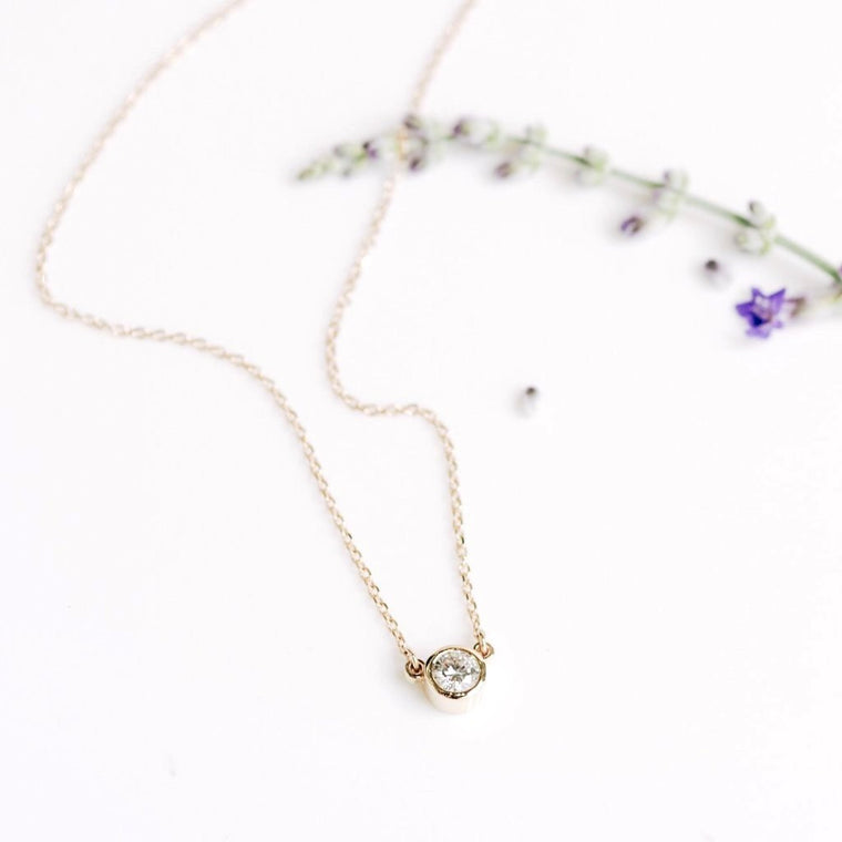 *In Stock!* Bezel Set Moissanite Necklace