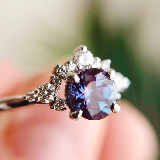 *In Stock* Lana Alexandrite Engagement Ring (White gold)
