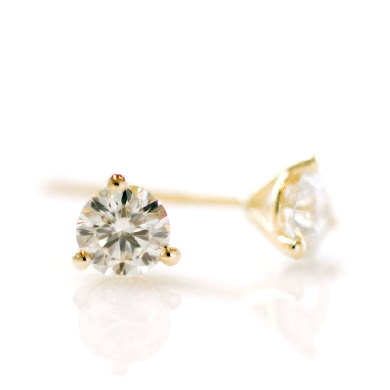*In Stock!* 1/3 Carat Yellow Gold Lab Grown Diamond Stud Earrings