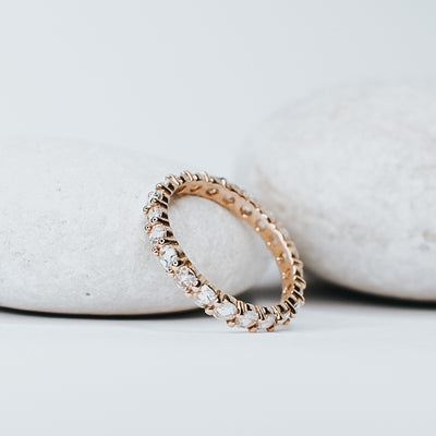 *In Stock!* Abigail Rose Cut Moissanite Eternity Band (Rose Gold)