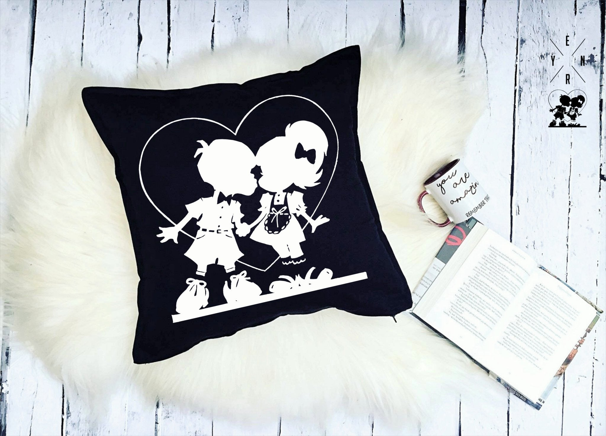 "Cushion ""First Love""-Cushions-EnryPrint.com"