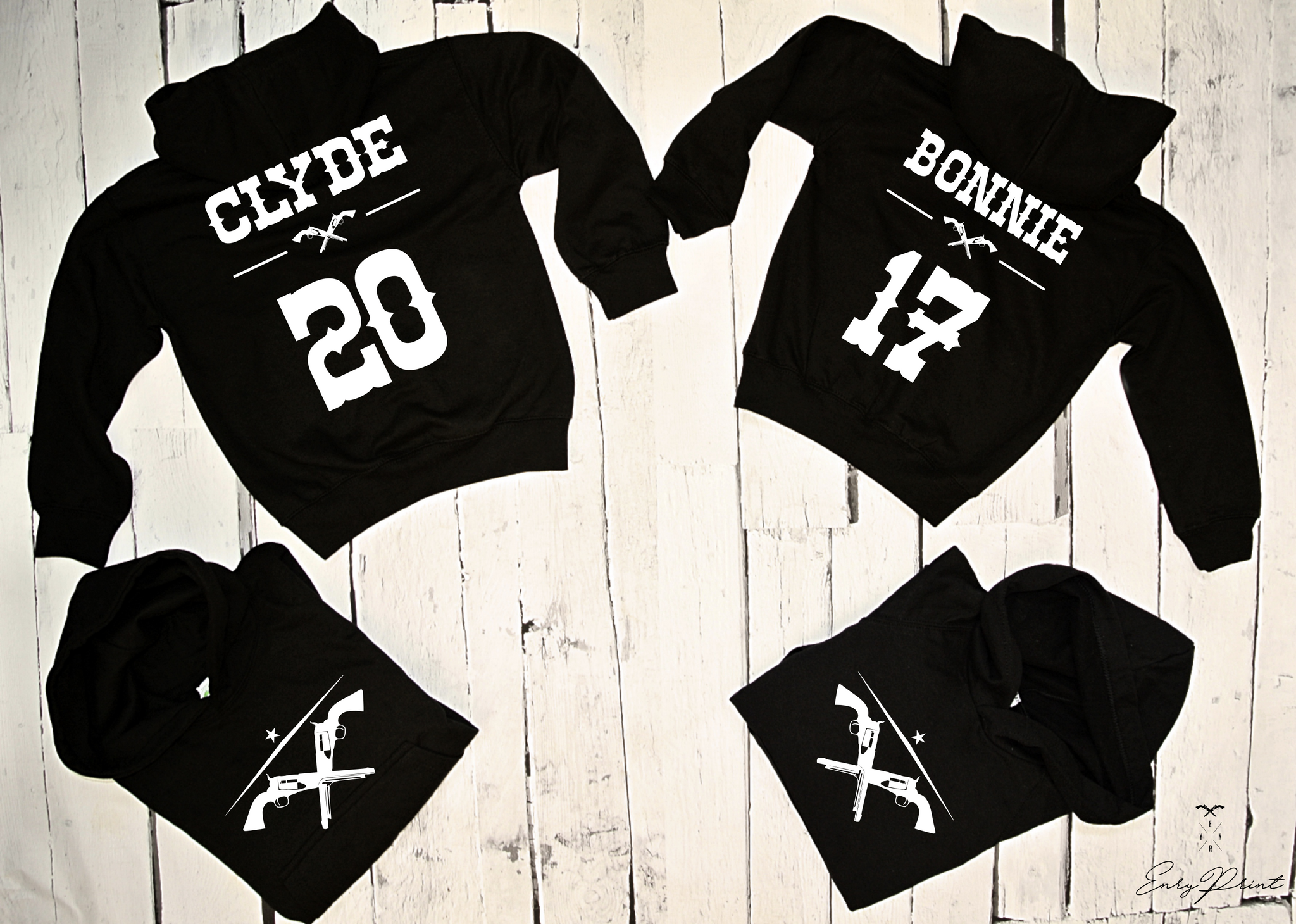 "HOODIE for couple ""BONNIE and CLYDE""-Hoodies-EnryPrint.com"