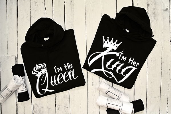 "HOODIE for couple ""HER KING HIS QUEEN""-Hoodies-EnryPrint.com"