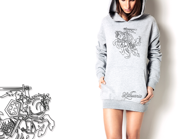 "Longline Hoodie ""Coat of arms of Lithuania""-T-Shirts-EnryPrint.com"