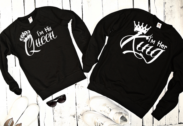 "SWEATSHIRT for couple ""HER KING HIS QUEEN ""-Hoodies-EnryPrint.com"