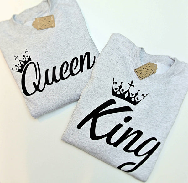 "sweatshirt for couple ""KING AND QUEEN""-Hoodies-EnryPrint.com"