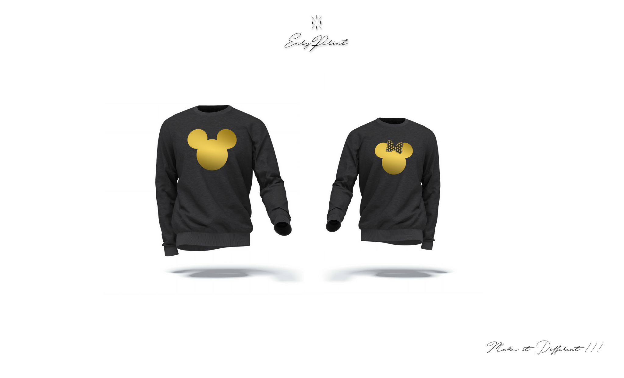 "sweatshirt for couple ""mickey""-Hoodies-EnryPrint.com"