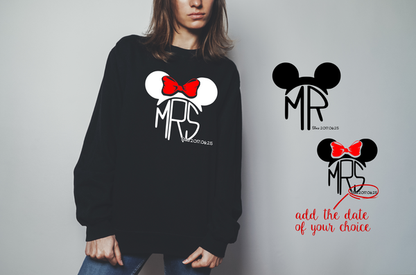 "sweatshirt for couple ""MR MRS mickey""-Hoodies-EnryPrint.com"